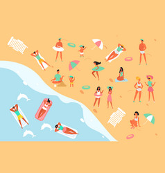 summertime relax people on sea ocean beach flat vector image