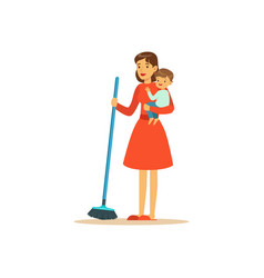 Super mom sweep the floor character with child vector