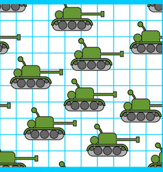 tank childs drawing in notebook seamless pattern vector image