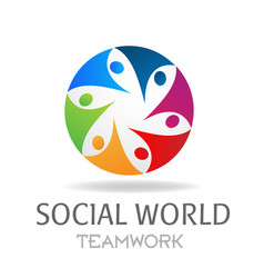 Teamwork social world networking design vector