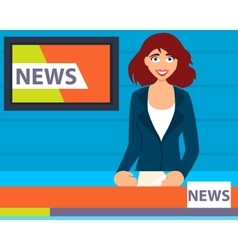 Television presenter tells news vector image