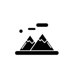 the mountains black icon sign on isolated vector image