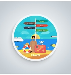 Traveling and Planning Vacation on Round Banner vector image
