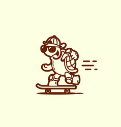 turtle on a skateboard vector image