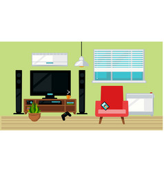 tv set and armchair in living room vector image vector image