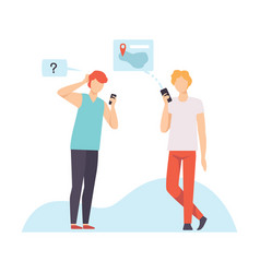 two young men communicating using smartphones vector image