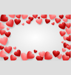 valentine day background with red hearts vector image