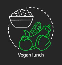 vegan lunch chalk concept icon healthy nutrition vector image