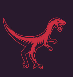 Velociraptor predaceous dinosaur red over dark vector