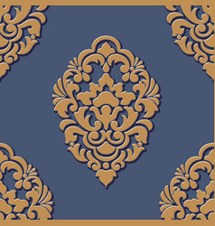 volumetric damask seamless pattern element vector image