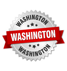 Washington round silver badge with red ribbon vector