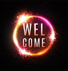 Welcome sign neon light banner on black brick wall vector