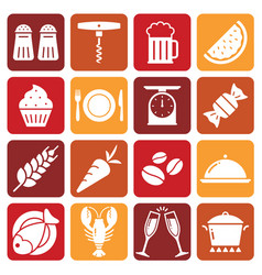 white food icons on colored backgrounds vector image