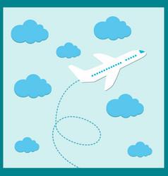 White plane flying in summer vector