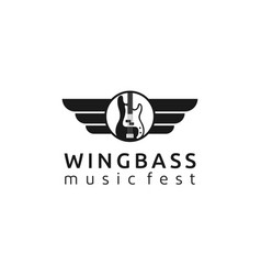 wing with bass for music group or music festival vector image