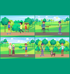 young teenagers resting in park together vector image