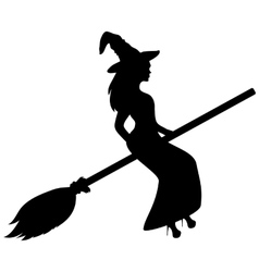 Young witch flying on a broomstick silhouette vector