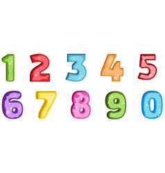 colorful set of hand drawn numbers isolated on vector image vector image