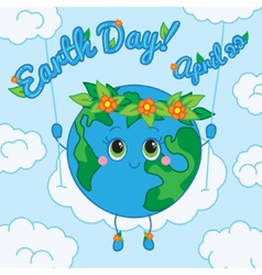 Earth Day 22 april Greeting card vector image