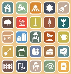 Farming flat icons on brown background vector image