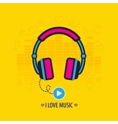 Flat headphones vector image vector image
