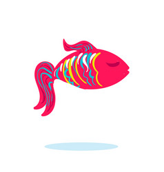 sea fish in pink color isolated with closed eyes vector image