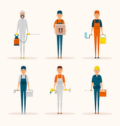 service workers cartoon characters set vector image