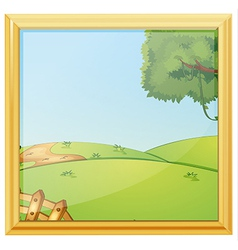 A beautiful landscape photo frame vector image