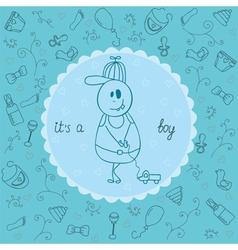 Baby card its a boy theme vector