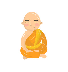 buddhist monk meditating in lotus position vector image