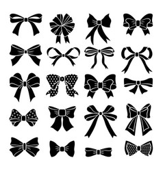Monochrome bows and ribbons set holiday vector