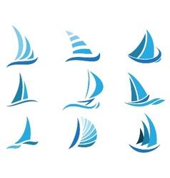 Sailboat symbol set vector