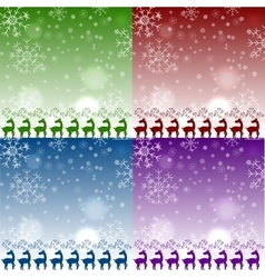 set of christmas reindeers pattens vector image