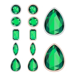 set of five forms of emerald cut and two kinds of vector image