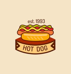 vintage fast food logo retro hand drawn vector image vector image