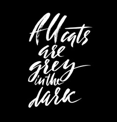 All cats are gray in the dark hand drawn vector