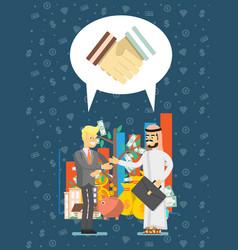 Arabian and european businessman meeting vector