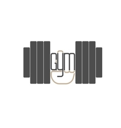 Dumbbell in hand logo element vector