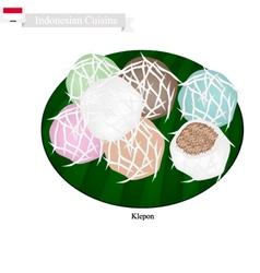 Klepon or Indonesian Stuffed Pandanus Rice Cake vector image vector image