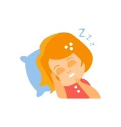 Little Red Head Girl In Red Dress Sleeping Flat vector image vector image