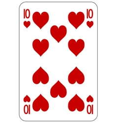 Poker playing card 10 heart vector image vector image