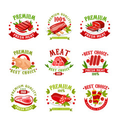 premium quality fresh meat logo templates set vector image