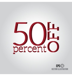 Red 50 sale Price off icon with 50 percent vector image
