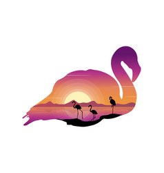 scene with silhouette flamingo at sunset vector image