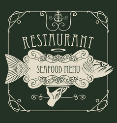 seafood menu with hand tray fish anchor rope vector image