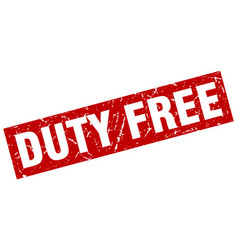 square grunge red duty free stamp vector image vector image