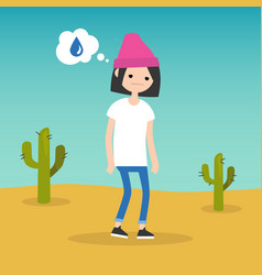 thirsty girl dreaming about water flat editable vector image