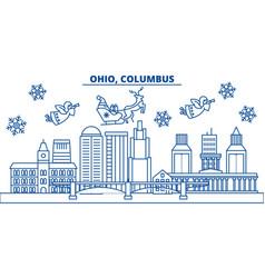 usa ohio columbus winter city skyline merry vector image vector image