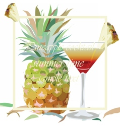 Watercolor Pineapple and Cosmopolitan vector image