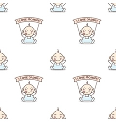 baby boy with love Mommy and Daddy posters vector image